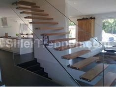 Self supporting wooden Open staircase MISTRAL EXTRA WHITE GLASS