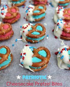 Patriotic Cheesecake Pretzel Bites
