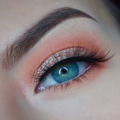 5 minute Spring eyes.  @kikomilano Infinity Eyeshadows. Don't know the numbers but one is a light neutral fawn shade and the other is a bright orange shade.  @colourpopcosmetics Amaze  @glitterinjections Vintage Chic glitter  @lashesbylena Posh lashes  @anastasiabeverlyhills Medium Brown Brow Wiz