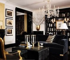 Black and white with gold couch, living room, high contrast