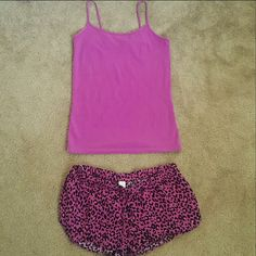 Pajama Top and Bottoms Be cute while you sleep with these dark hot pink and purple leopard print shorts with slits on sides, purple tank top, gently worn and in great condition. Forever 21 Intimates & Sleepwear Pajamas