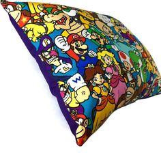 Video Game Decor  Mario & Friends Cotton  Throw Pillow