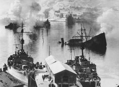 Damaged ships at Narvik, Norway, Apr 1940. (US Library of Congress)