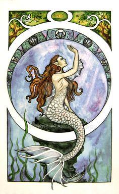 Art Nouveau Mermaid by Farothiel.deviantart.com on @DeviantArt