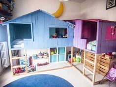 Lit mezzanine Mydal + quelques planches en bois = un lit esprit cabane