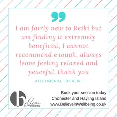 Client testimonial www.BelieveinWellbeing.co.uk Reiki and holistic massage - Chichester and Hayling Island Reiki Books, Holistic Massage, Chichester, Homeopathy, Massage Therapy, Believe, Peace, Island, Feelings