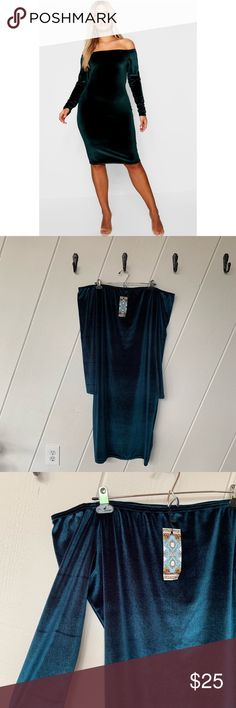 52f7f8bd5228 NWT BooHoo Plus Bardot Velvet Midi Dress New with tags. BooHoo plus Bardot  Velvet Midi