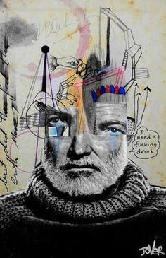 "Saatchi Art Artist Loui Jover; Drawing, ""being ernest hemingway"" #art"