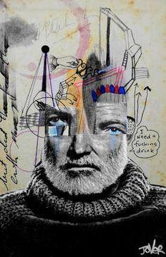 "Saatchi Art Artist Loui Jover; Drawing, ""being ernest hemingway"" #art"