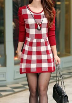 Casual Scoop Neck Long Sleeve Plaid Knitted Women's Dress