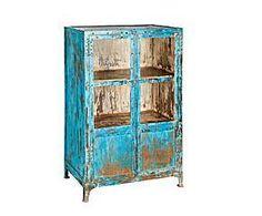 Vitrina en vidrio y hierro – azul decapado