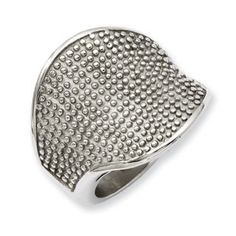 Women's Textured Stainless Steel Ring Jewelry Available Exclusively at Gemologica.com