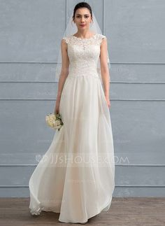 [US$ 149.49] Pretty little A-Line/Princess Scoop Neck Floor-Length Chiffon Lace Wedding Dress With Beading Sequins
