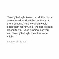 """""""When Allah(SWT) decrees that a door in your life is to be…"""" preach Quran Quotes Inspirational, Beautiful Islamic Quotes, Faith Quotes, Life Quotes, Allah Quotes, Muslim Quotes, Energie Positive, Religion Quotes, Islamic Phrases"""