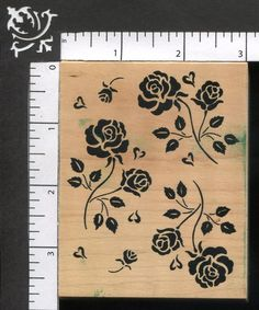 Great Impressions Roses And Hearts Flower Background Garden Love WM Rubber Stamp #GreatImpressions #Background