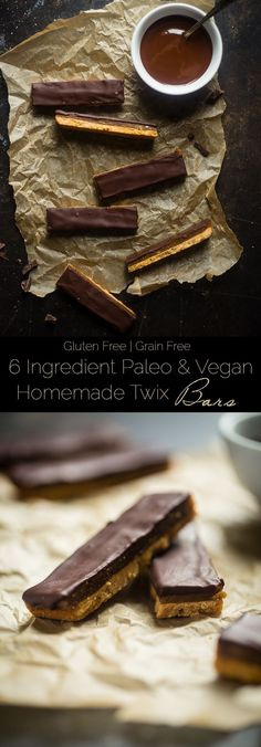 6 Ingredient Paleo and Vegan Homemade Twix Bars - You will NEVER know that these SUPER EASY homemade Twix bars are secretly healthy and gluten/grain/dairy and refined sugar free! | http://foodfaithfitness.com