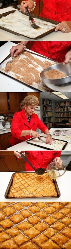 Baklava is one of my favorite desserts! Step-by-step instructions for authentic Greek baklava. I do change the syrup by using sugar, juice, to depending on your taste and water. Boil I also add 1 clove to each diamond shape baklava before baking Delicious Desserts, Dessert Recipes, Yummy Food, Comida Armenia, Greek Baklava, Turkish Baklava, Kolaci I Torte, Cookies, How Sweet Eats