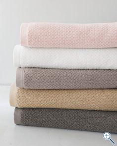 Eileen Fisher Organic Cotton Spa Towels:  set of pale colors in the bathroom.