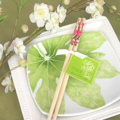 Cherry Blossom Chopstick Favors (Event Blossom EB2014) | Buy at Wedding Favors Unlimited (http://www.weddingfavorsunlimited.com/cherry_blossom_chopstick_favors.html).