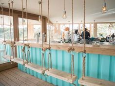 restaurant outdoor Restaurant GESTRAND in the Dunes of Bloemendaal. Interior design by KRAAN Ibiza Restaurant, Outdoor Restaurant, Colorful Restaurant, Restaurant Bathroom, Pop Up Restaurant, Outdoor Cafe, Modern Restaurant, Seafood Restaurant, Outdoor Dining