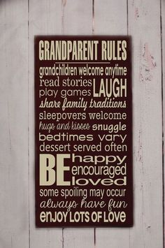 Grandparent Rules Subway Art Wooden Sign - Rules Wood Sign - Home Decor Sign - Grandparent Gift- You Pick Colors by krista