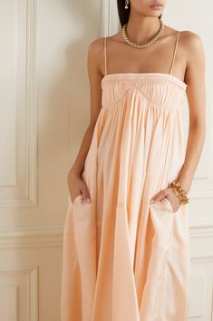 Peach Ruched silk gown | Chloé | NET-A-PORTER Chloe Clothing, Monica Vinader Bracelet, Silk Gown, Pattern Cutting, Dress Outfits, Dresses, Bodice, Cold Shoulder Dress, Peach