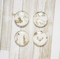 Vintage Farm Animals Glass Magnets // Kitchen Magnet, Office Deco, Kids Magnet, Fridge Magnet, 1'' Magnet, Set of Four Magnets, Glass Magnet de la boutique SomniumBoutique sur Etsy