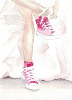 Original watercolor painting wedding dress pink converse shoes bride anniversary love romance fashion from HelgaMcL on Etsy. Saved to Watercolor from Art. Art And Illustration, Illustrations, Watercolor Portraits, Watercolor Paintings, Watercolour, Pink Converse, Bride Converse, Pink Wedding Dresses, Watercolor Fashion