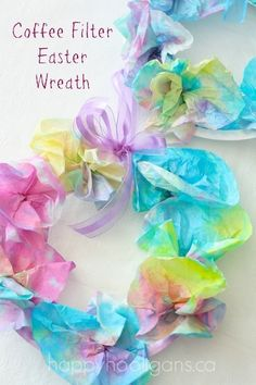 so pretty! Coffee Filter Easter Wreaths