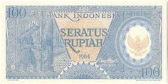 Here is a beautiful high denomination bank note issued by the Bank of Indonesia in 1964. The detailed engraving on the front of the note features a worker on a rubber plantation and the Indonesian coat of arms. Rubber accounts for 40%of the country's exports . The back of the bill shows a quaint house built on stilts to guard it against floods.