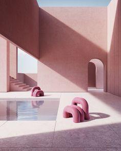The Popou design family Futuristic Architecture, Beautiful Architecture, Architecture Art, Minimalist Architecture, Cinema 4d, Minimal Design, Modern Design, Charlotte Taylor, Rendering Art