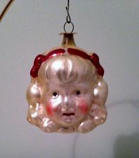vtg antique German girls head xmas ornament Germany glass child's face