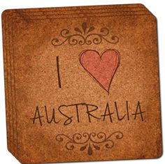 Custom  Cool 4 Inches Set Pack of 4 Square Grip Texture Drink Cup Coaster Made of Cork w Cork Bottom  Travel Souvenir House Decor I Heart Love Australia Design Brown Black  Red Colors *** See this great product.