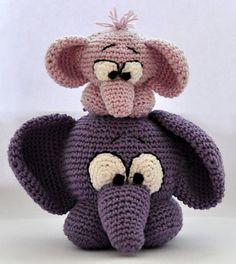 crochet pattern amigurumi elephants pdf by MOTLEYCROCHETCREW