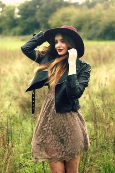 This is super cute and fall! Adore the hat, the lipstick and the dress with leather jacket. Gives a vintage feel
