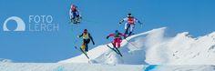 AROSA,SWITZERLAND,06.FEB.15 - FREESTYLE SKIING - FIS World Cup, Ski Cross. Image shows the small final of the ladies: Katrin Ofner (AUT), Sami Kennedy-Sim (AUS), Karolina Riemen-Zerebecka (POL) and Alizee Baron (FRA)
