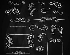 Chalk border clip art: CHALK DOODLE BORDERS clipart pack by Grepic