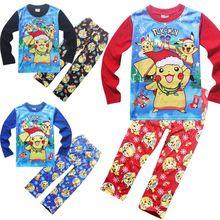 Christmas Hot Pikachu Baby Girls Boys Clothes Kids Pokemon Go Homewear Sleepwear Pyjamas set Outfit Clothes(China (Mainland))