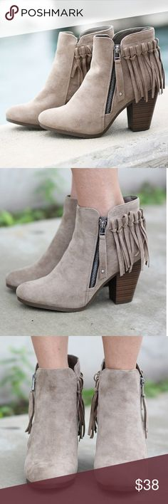 """Beige fringe ankle boots bootie Beige fringe ankle boots bootie   imported color: beige/tan color contrasting side zip closure fringe tassel back design,                                heel height:3.5"""" (approx) Shaft Length: 7.25"""" (including heel) Top Opening Circumference: 10"""" (approx) Shoes Ankle Boots & Booties"""