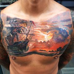 """Hell yea. Work by <span class=""""emoji emoji1f449""""></span> @q_tattoos - #Sunset and #pirate #ship. If you are digging it and want ..."""