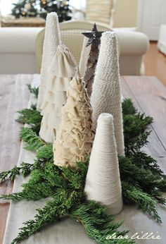 Yarn and ruffle trees from Dear Lillie: Christmas House Tour 2012
