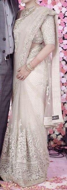 wedding saree and wedding saree indian Designer saree Bridal Lehenga, Saree Wedding, Christian Wedding Sarees, Saree Dress, Lace Saree, Net Saree, Designer Sarees Wedding, Stylish Sarees, Desi Clothes