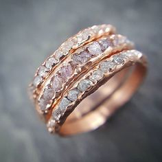 How about stacks of raw rough diamonds in rose gold? #sayyes #Ido #somethingpink #pinkdiamonds