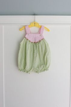 9 months: Pink and Green Gingham Baby Bubble Romper with Flower Ribbon Trim
