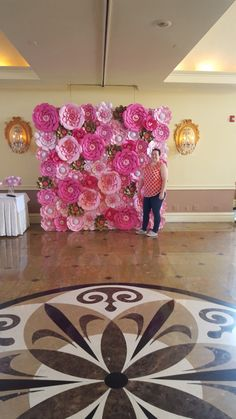 Pink Paper Flower Wall  8ft x 8ft   Extra Large Paper Flowers