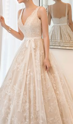 Love this, but strapless with not such a severe plunge..... lace princess wedding dress,wedding dresses