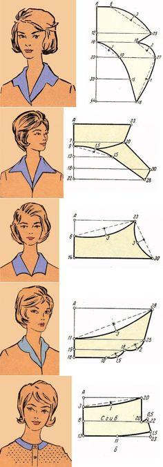 Pattern making collars. Ретро воротник отложной без стойки (6 выкроек – схем) - «Ретро стиль, мо | Sewing _ clothes _ patterns_Шитье_Одежда_Выкройки | Постила