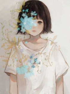 Pretty Art, Cute Art, Cartoon Drawings, Art Drawings, Anime Flower, Cute Little Drawings, Arte Obscura, Digital Art Girl, Anime Style