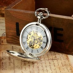 Double Hunter Mechanical Pocket Watch Silver Smooth Surface LPW243 Mechanical Pocket Watch, Pocket Watch Antique, Pocket Watches, Bracelet Watch, Surface, Smooth, Roman, Silver, Accessories