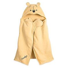 Winnie the Pooh Hooded Towel for Baby - Personalizable | Disney Store Baby will be blissful at bathtime after a warm hug from Pooh when drying off. With this Winnie the Pooh Hooded Towel, they'll be stuffed in fluff while covering up! Now with mitten corners for additional play value.